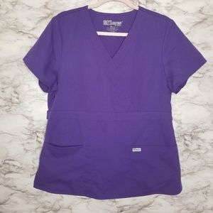 Greys Anatomy Scrub Top Womens Large Purple L